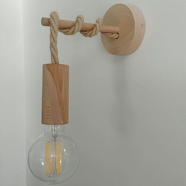 kelvin et lumen luminaires applique douille rosace bois cordon jute XL ampoule LED entrée séjour salon chambre locaux professionnels