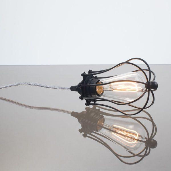 kelvin et lumen luminaires applique baladeuse déco abat-jour métal cordon argent paillettes ampoule LED Edison chambre salle de bains véranda séjour entrée