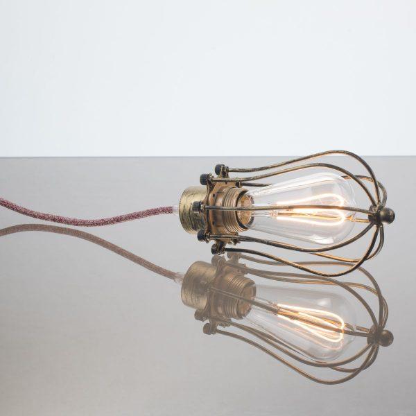kelvin et lumen luminaires applique baladeuse déco abat-jour métal finition laiton cordon bordeaux et lin ampoule led Edison chambre salle de bains véranda séjour entrée