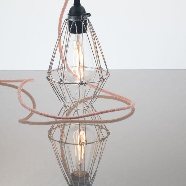 kelvin et lumen luminaires applique baladeuse déco abat-jour métal cordon lin rose ampoule LED Edison chambre entrée salon véranda