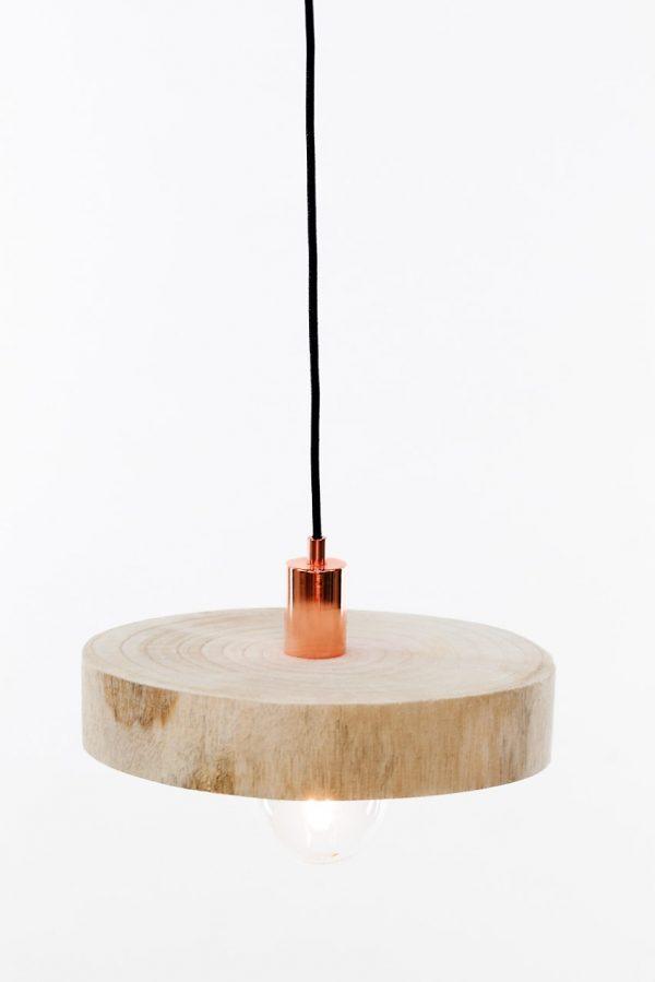 kelvin et lumen luminaires suspension abat-jour bois douille et rosace cuivre cordon élecrtique noir pailleté entrée séjour salon salle à manger cuisine chambre