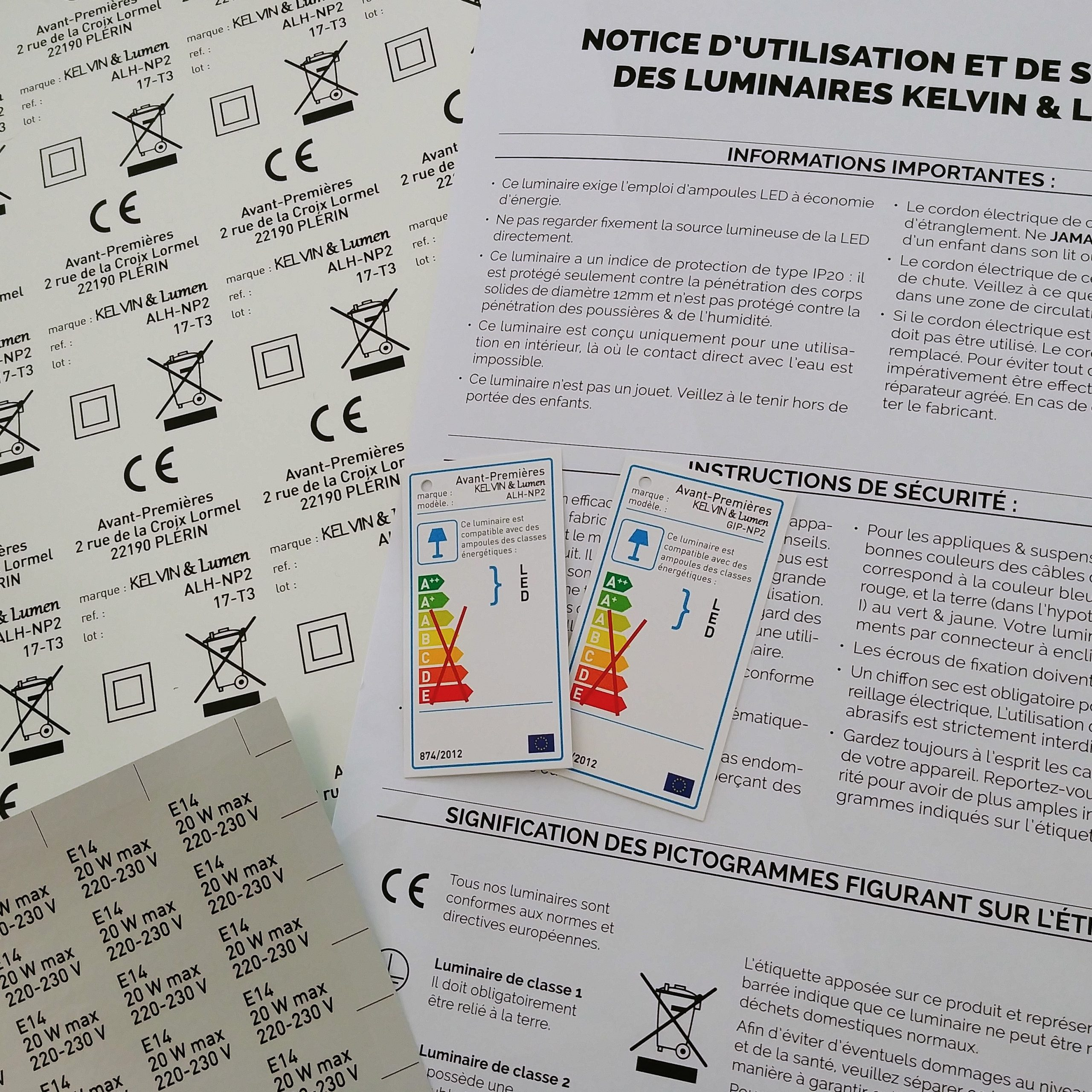 étiquettes et notice CE Kelvin et lumen luminaires réglementation