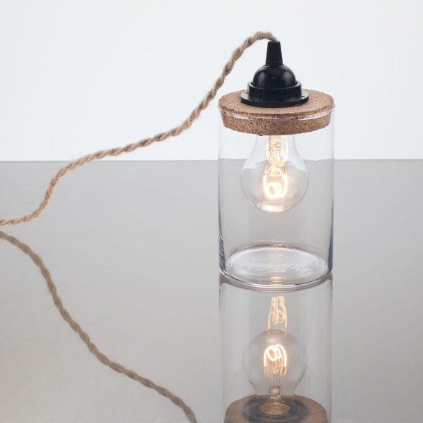 lampe bocal originale cordon électrique torsadé en jute fabricant de luminaires bretagne