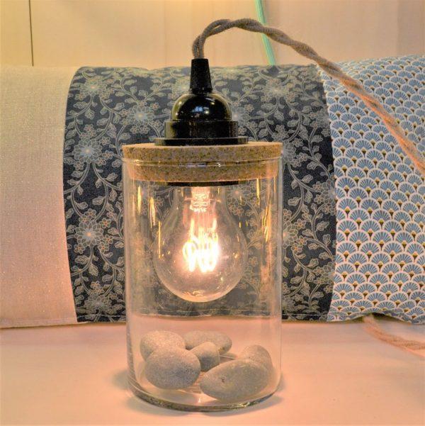 lampe de table bocal de créateur liège et jute cordon électrique textile torsadé luminaires côtes d'armor