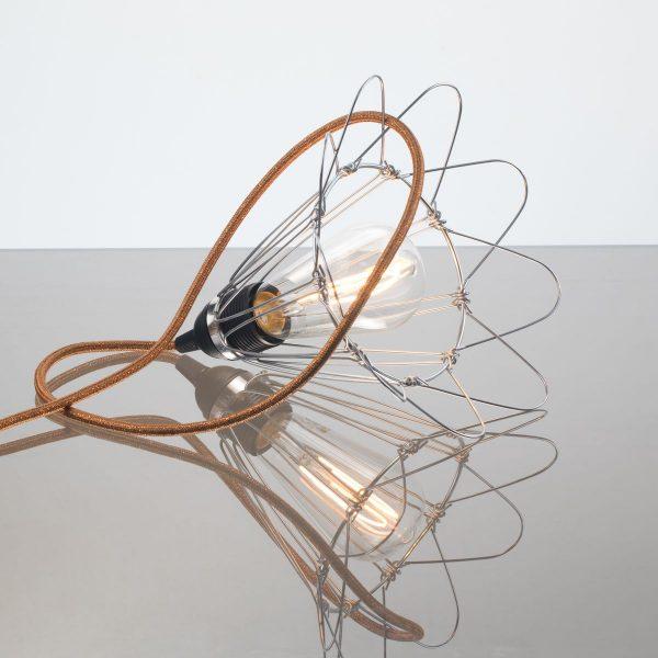 lampe baladeuse cordon cuivre pailleté utilisé en applique ou en lampe à poser dinan dinard rennes vannes nantes