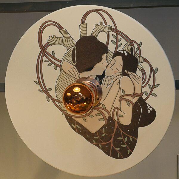 applique murale ou à brancher fabricant français de luminaires forme ronde plateau bois plat poésie entrée chambre salon