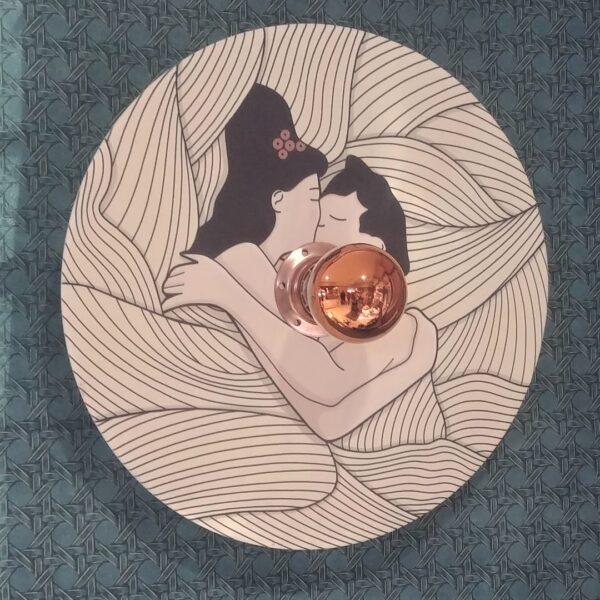 applique murale en bois de créateur éclairage indirect graphisme dessin au trait 2 motifs réversible tendresse chambre douceur fabriqué en france à pléneuf-val-andré