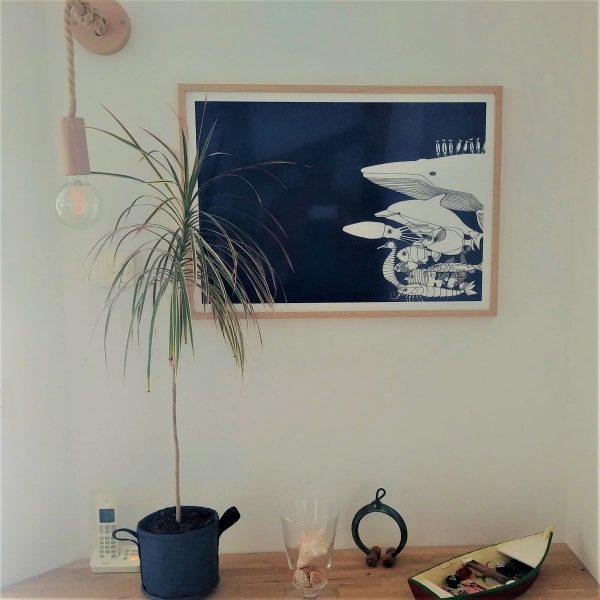 luminaire de créateur abordable applique murale cordage jute douille et support bois naturel