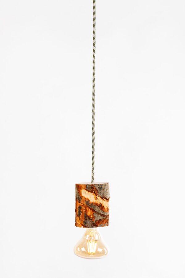 luminaire saint-brieuc lampe suspendue rondin bois brut trace sciage ampoule LED
