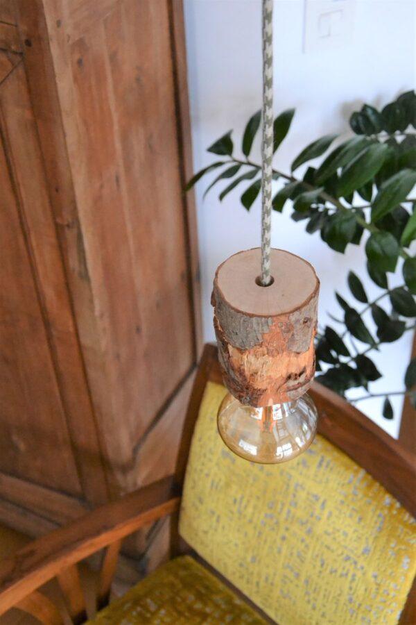 suspension rondin nordique scandinave cabane bois brut lampe de créateur breton lamballe 22