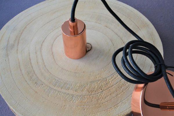 suspension bois brut et cuivre luminaire de créateur lampe imaginée en bretagne à Pléneuf-Val-André 22