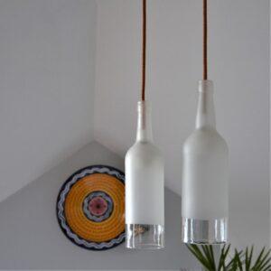 suspension deux lampes bouteilles givrées