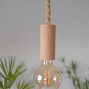 luminaire suspension nature bois et corde scandinave